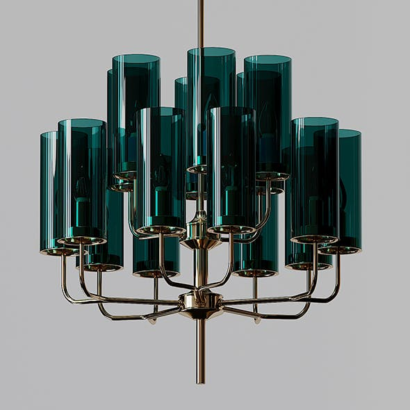 Brass Blue Glass Tube Chandelier by Hans Agne Jakobsson