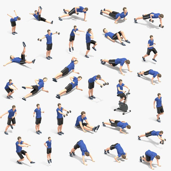 30 Exercise Animations Bundle VOL 2 - 3DOcean Item for Sale