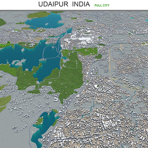 Udaipur city India 3d model 30km - 3DOcean Item for Sale