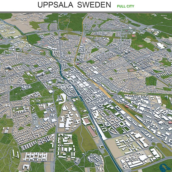 Uppsala city Sweden 3d model 40km - 3DOcean Item for Sale
