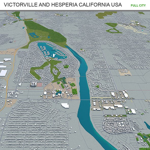 Victorville and Hesperia California USA city 3d model 70km - 3DOcean Item for Sale