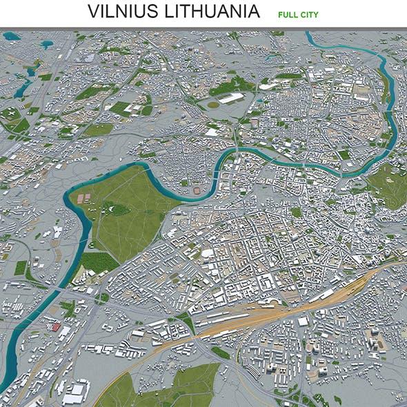 Vilnius city Lithuania 3d model 60km - 3DOcean Item for Sale