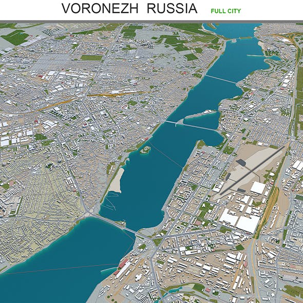 Voronezh city Russia 3d model 60km - 3DOcean Item for Sale