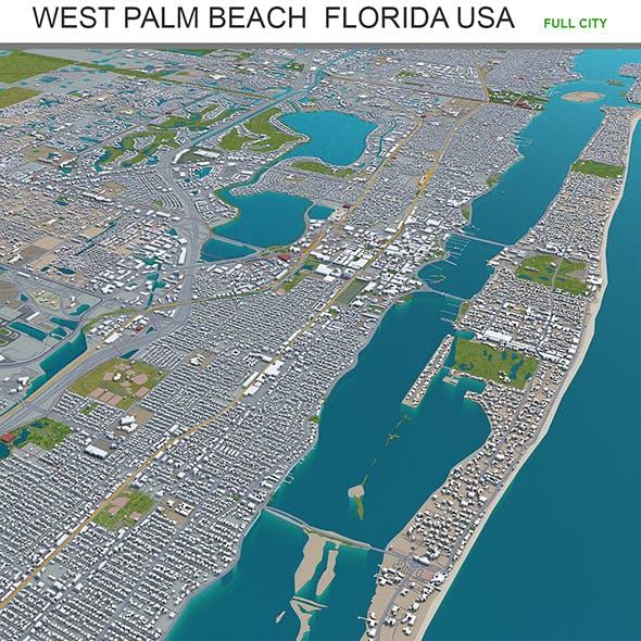 West Palm Beach city Florida USA 3d model 40km - 3DOcean Item for Sale