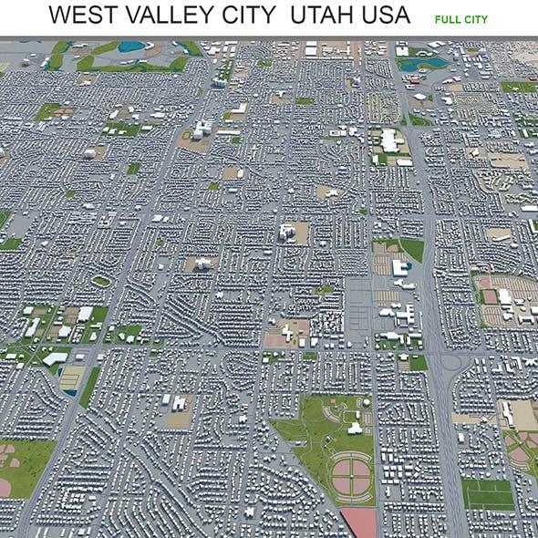 West Valley City Utah USA 3d model 40km - 3DOcean Item for Sale