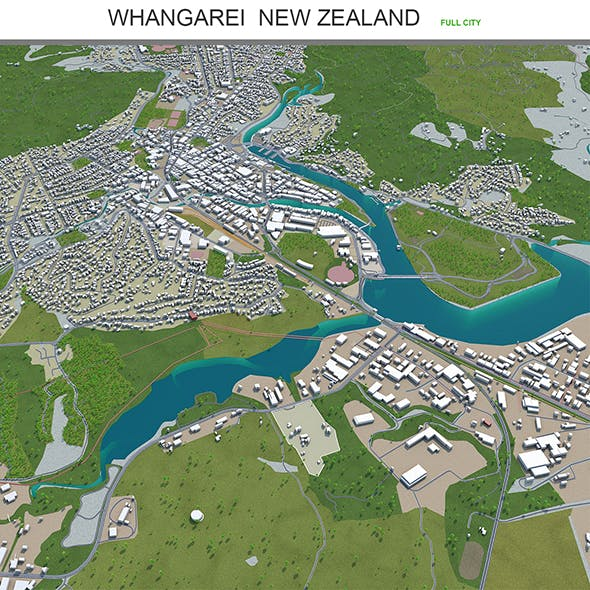 Whangarei city New Zealand 3d model 30km - 3DOcean Item for Sale