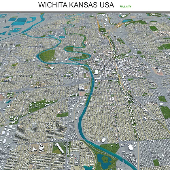Wichita Kansas city USA 3d model 70km - 3DOcean Item for Sale