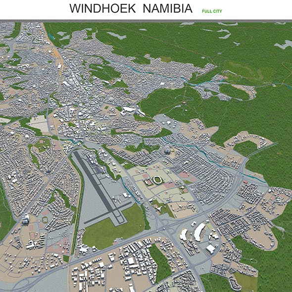 Windhoek city Namibia 3d model 40km - 3DOcean Item for Sale