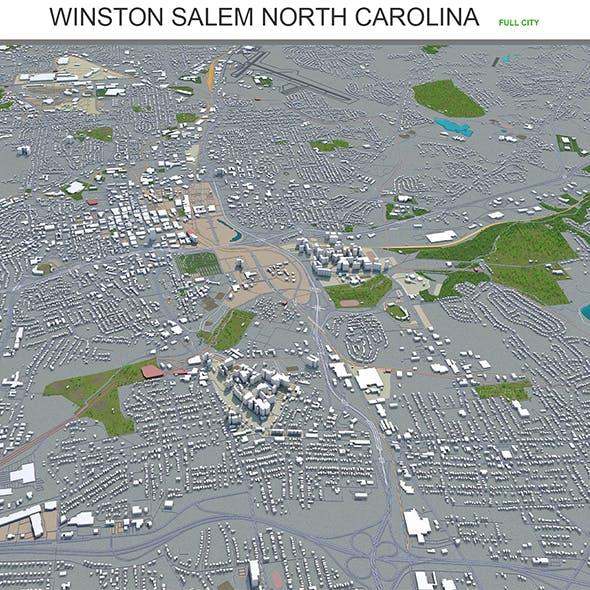 Winston Salem city North Carolina USA 3d model 50km - 3DOcean Item for Sale