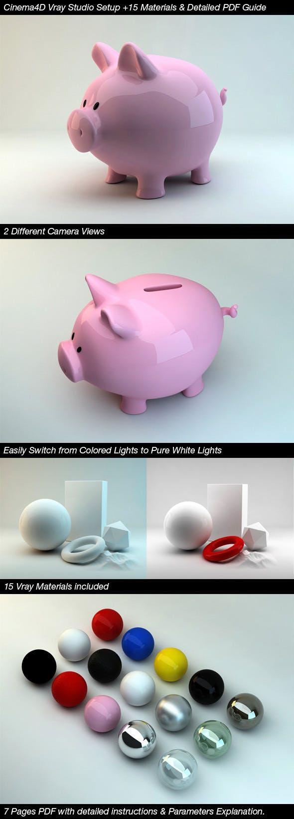 Cinema4D Vray Studio Setup+15 Materials+PDF Guide - 3DOcean Item for Sale