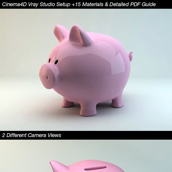 Cinema4D Vray Studio Setup+15 Materials+PDF Guide