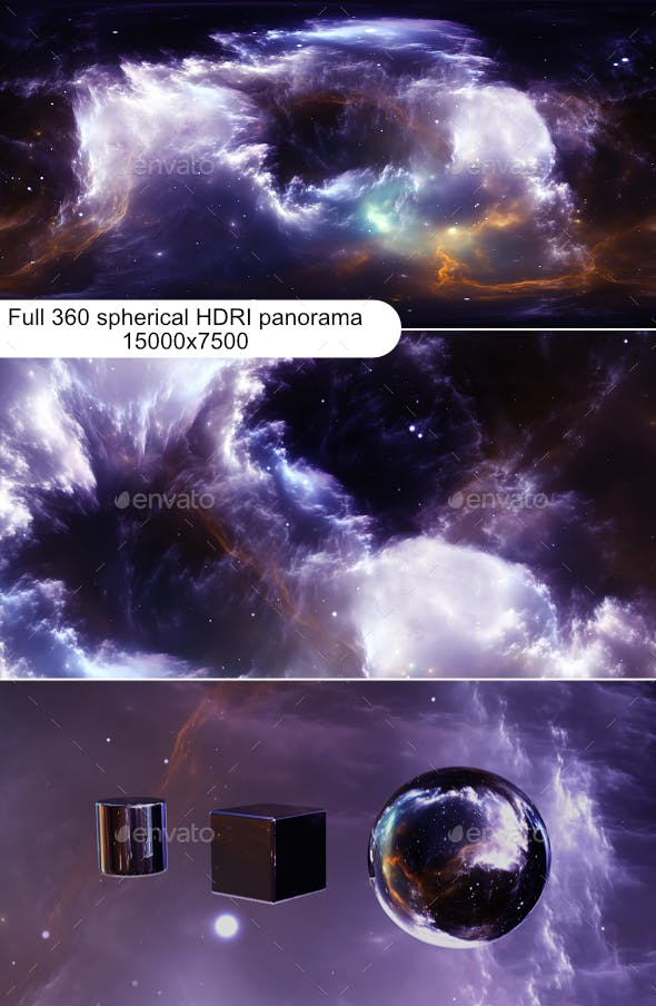 360 degree stellar space background with nebula. Panorama, environment 360 HDRI map - 3DOcean Item for Sale