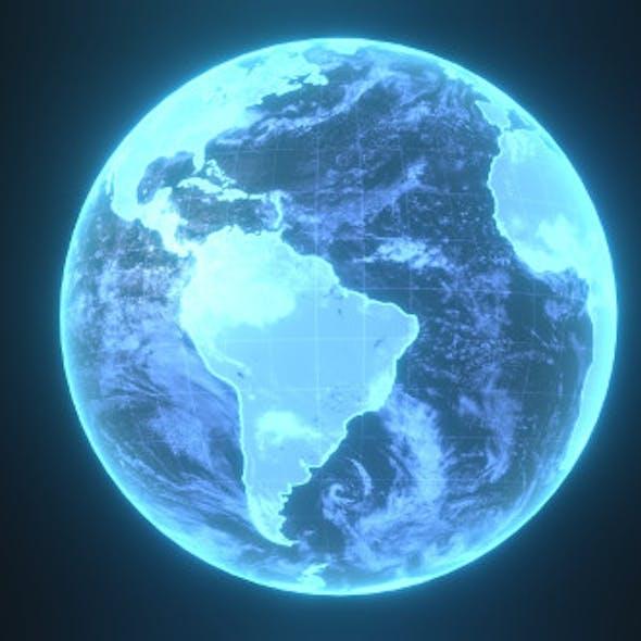 Planet Earth Hologram Sci-Fi 3D Model
