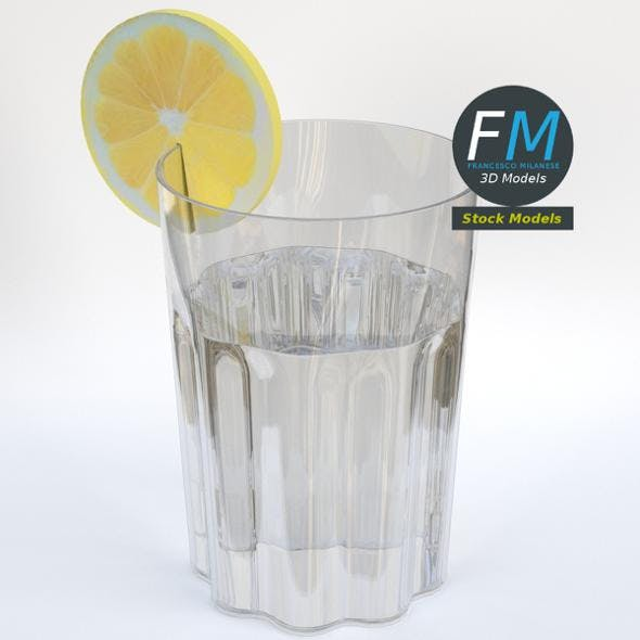 Glass with lemon slice - 3DOcean Item for Sale