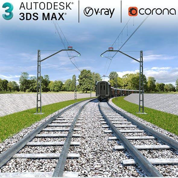 3dsMax Scene Railway And Train