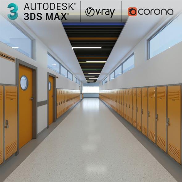 3D Model School Hallway Interior Scene