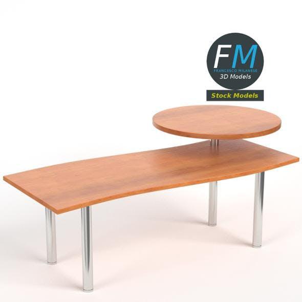 Desk with circular shelf