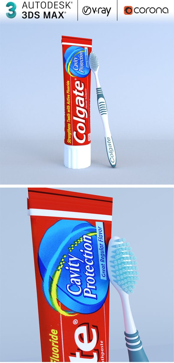 Colgate Toothpaste Box and toothbrush model - 3DOcean Item for Sale