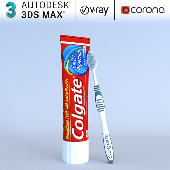 Colgate Toothpaste Box and toothbrush model