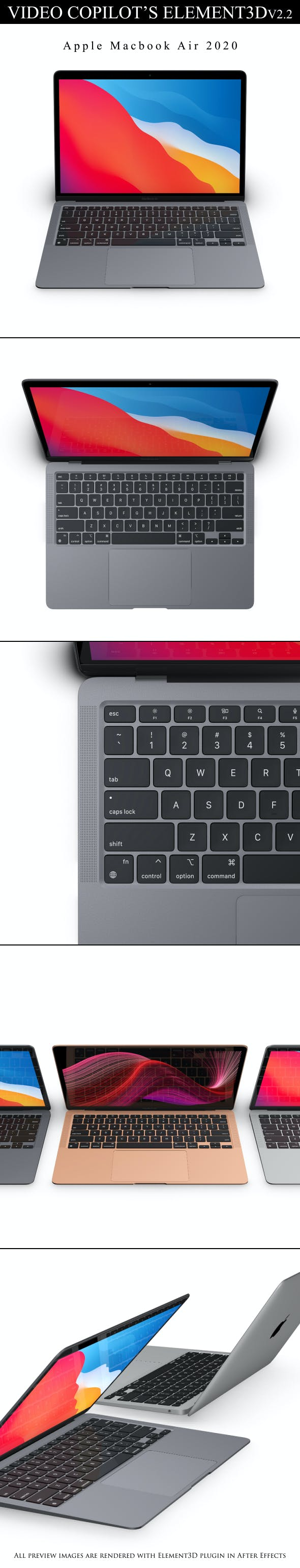 Element3D - Macbook Air M1 2020 - 3DOcean Item for Sale