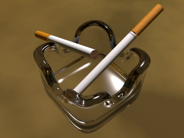 Ashtray and cigarette - 3DOcean Item for Sale