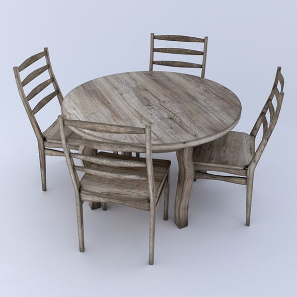Round table and Chairs - aged wood - 3DOcean Item for Sale