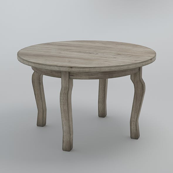 Round table - aged wood - 3DOcean Item for Sale