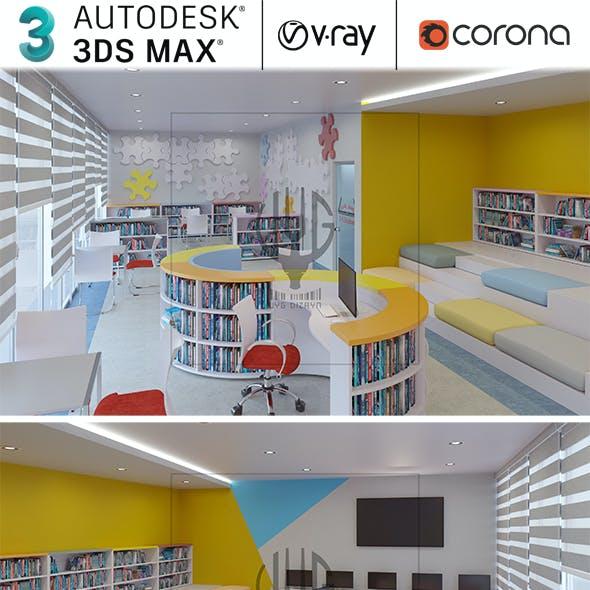 Realistic School Library Interior Design