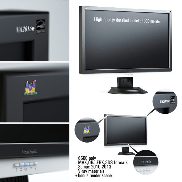 High-quality detailed model of LCD monitor