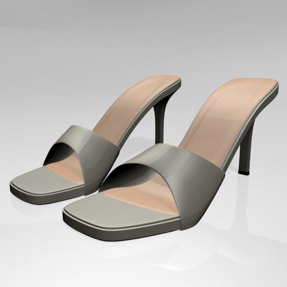 Peep-Toe High-Heel Slide Sandals 01