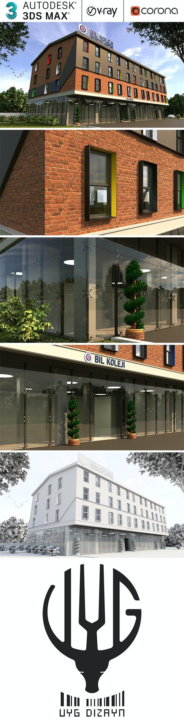 Modern Realistic Building Exterior Design - 3DOcean Item for Sale