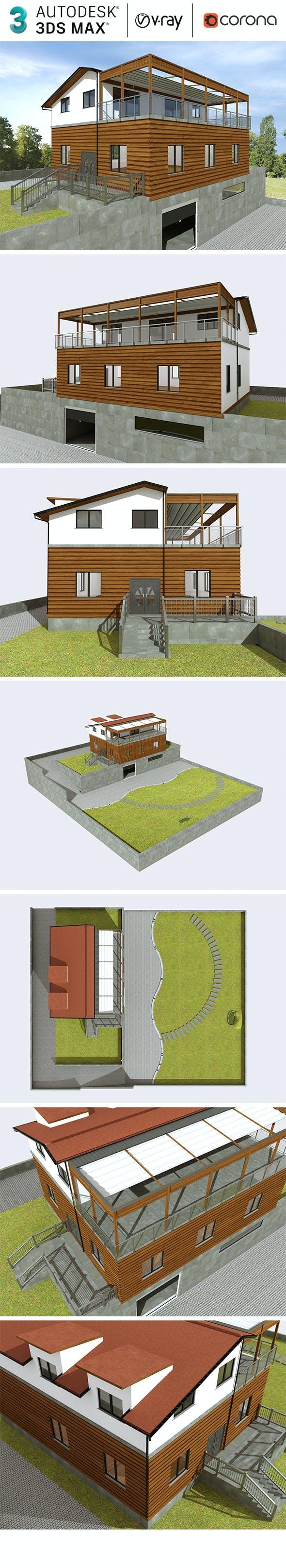 Realistic Exterior Villa Design - 3DOcean Item for Sale