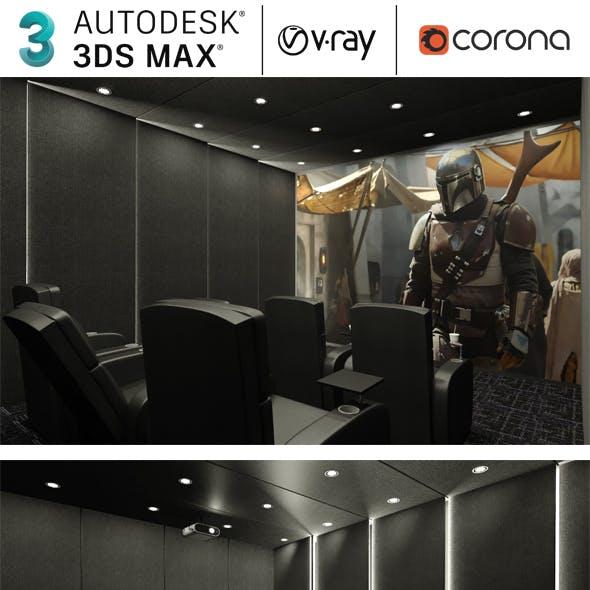 Realistic Cinema Room, Home Theatre 3ds Max