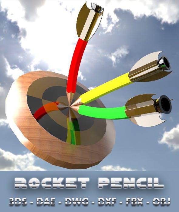3D Design of Rocket Pencil - 3DOcean Item for Sale