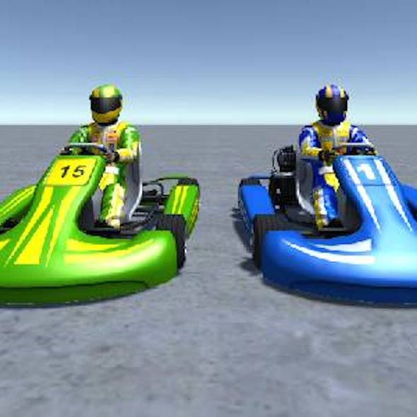 2 Low Poly Karts With Player Pack 3
