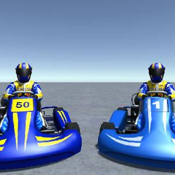 2 Low Poly Karts With Player Pack 4