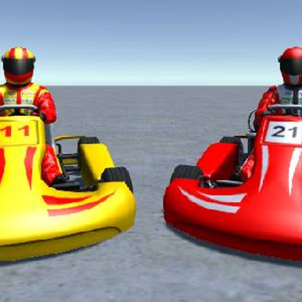 2 Low Poly Karts With Player Pack 5