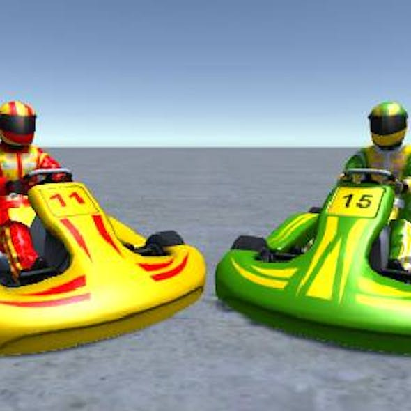 2 Low Poly Karts With Player Pack 6