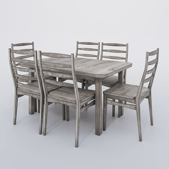 Rectangular table and chairs - aged wood - 3DOcean Item for Sale