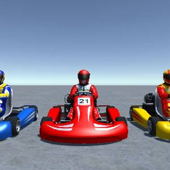 3 Low Poly Karts with Player 1
