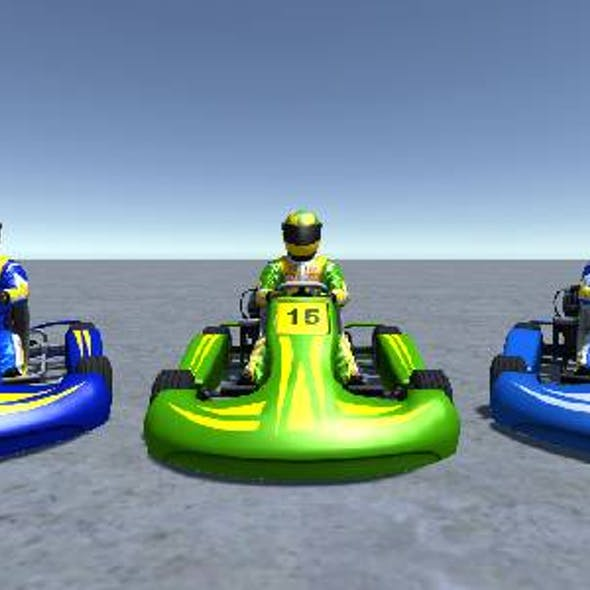 3 Low Poly Karts with Player 3