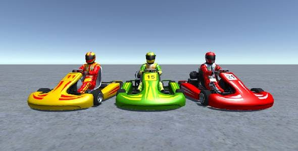 3 Low Poly Karts with Player 4 - 3DOcean Item for Sale