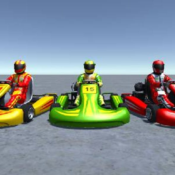 3 Low Poly Karts with Player 4