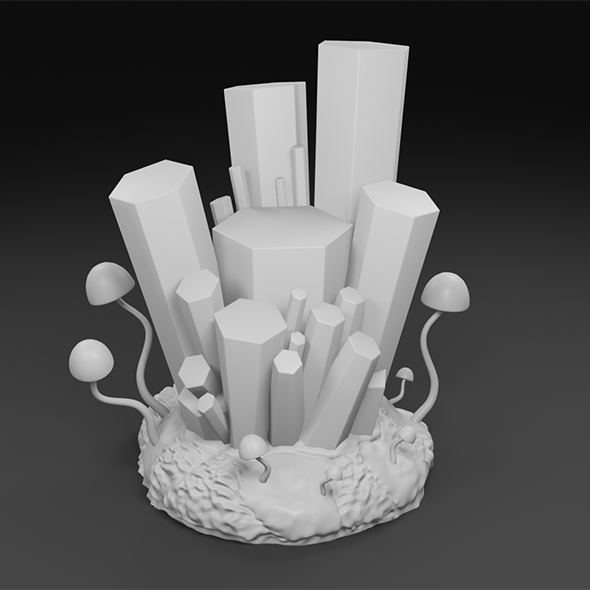 Cave crystal cluster 3D print model