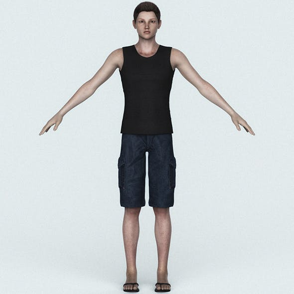 Young Teen Boy 3D Character