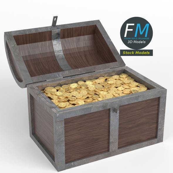 Treasure chest with gold coins - 3DOcean Item for Sale