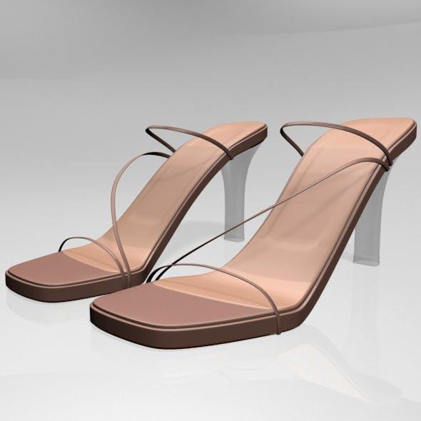 Square-Toe Chunky-Heel Slide Sandals 01