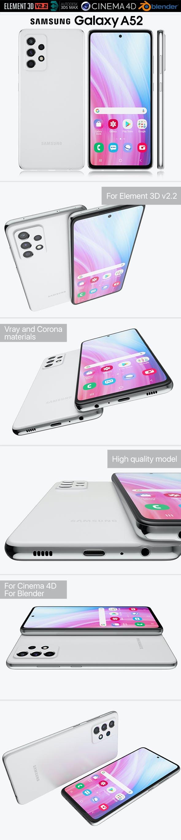 Samsung Galaxy A52 - 3DOcean Item for Sale