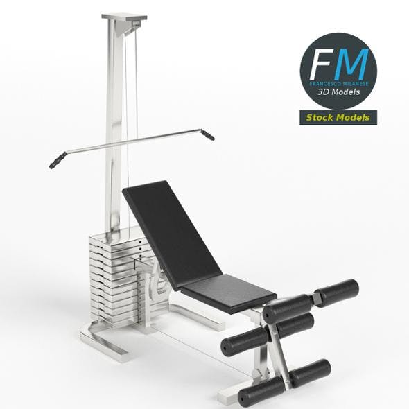 Gym equipment pectoral and leg bench