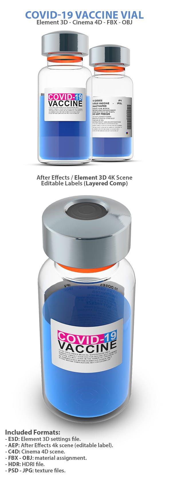 Vaccine Vial 3D Model for Element 3D & Cinema 4D - 3DOcean Item for Sale